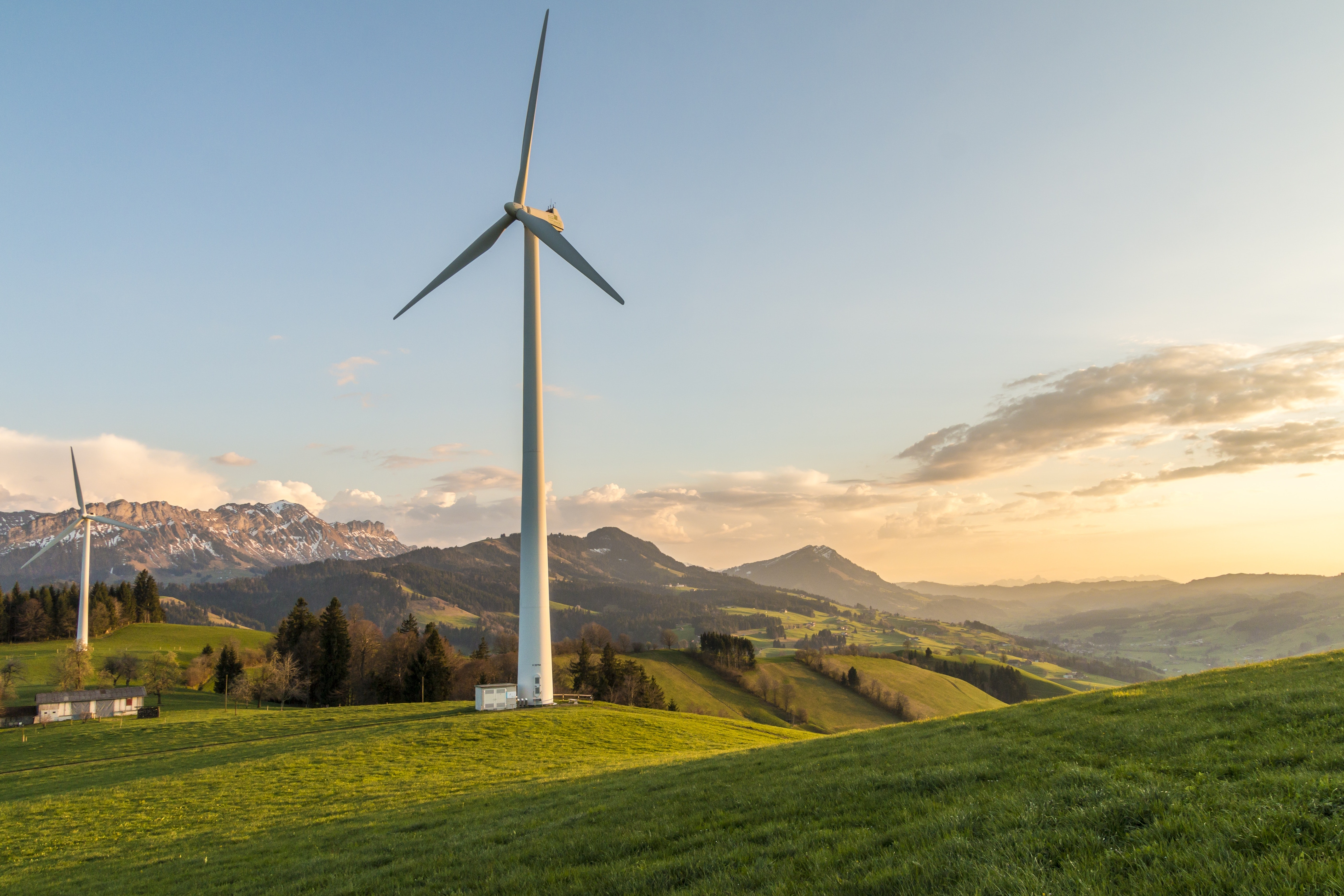 Wind turbine and mountains